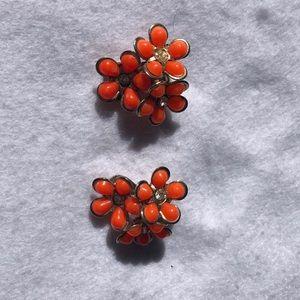 Vintage Orange Cluster Flower Earrings Clip  J48